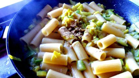 Rigatoni zucchine porri e zenzero