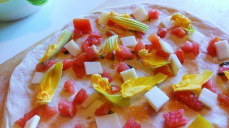 pomodori e fiori di zucca
